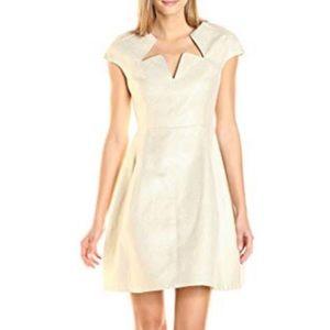 Halston Heritage Cap Sleeve Notch Neck Gold Dress